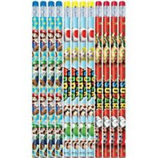 "OFFICIAL MARIO BROTHERS AND FRIENDS 12 PIECE STATIONARY 7 1/2"" PENCIL SET-NEW!"