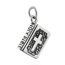Bible Charm - 925 Sterling Silver - Religion Holy Christian Word Jesus 3D NEW