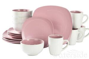 Waterside 16PC Nova Square Dinner Set Pink