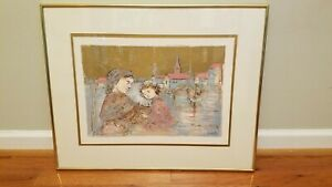 Edna HIBEL signed and numbered lithograph, Framed, mother and daughter