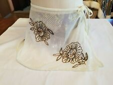 Newport News Womens Ivory Floral Beaded Skirt Swim Wrap Cover Up S Small.
