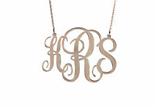 Handmade Personalised Monogram Necklace 18K Rose Gold Plated 1.75''1mm thickness