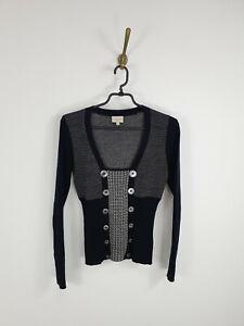 Karen Millen England Sweater Pullover Black Wool Long Sleeve Women Size: 1 XS