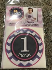 NEW Sticky Bellies Girls Pink Purple White Removable Photo Stickers 1-12 Months