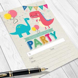 Dinosaur Birthday Party Invitations Kids Invites Children Boy Girl D01
