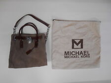 MICHAEL KORS HANDBAG HAND BAG PURSE LOCK BROWN BEIGE NEW SILVER WITH KEY
