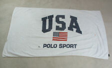 VINTAGE Ralph Lauren Polo Sport Towel White Spell Out USA Flag Beach 90s *