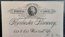 One cent postal card+Jefferson+Rochester Brewery 1891+unused+Wanner+Lager beer