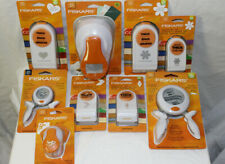 Lot of 9 FISKARS Paper Punch Thick Squeeze Lever Mixed Shapes Scrapbooking