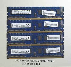 16GB 4x4GB Kingston PC3L-12800U Desktop Memory - HP 698650-154
