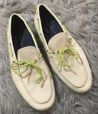 Cole Haan Air Mason Camp Leather Moccasins White Green 9.5 Loafers Boat Shoes
