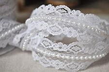 1m Blanco con cuentas de perlas de encaje de corte de cinta de Bridal, Vintage, Shabby Chic Boda Tarjeta