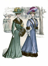 2 Victorian Edwardian Ladies Womens Dress Design Fashion Reproduction Prints New