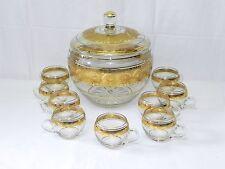 Kristallglas Bowleset Kristall Bowletopf Bowlegläser Bowle Gläser Gold verziert