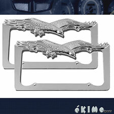 2 PCS Eagle Hawk Cast Zinc Chrome Finish License Plate Frame Pilot Automotive
