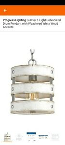 Progress Lighting Gulliver 1 light Pendant, Galvanized Weathered White Wood