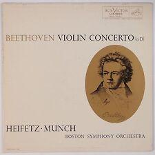 BEETHOVEN: Violin Concerto HEIFETZ, Munch LM-1992 RCA Shaded Dog LP NM-