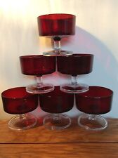 Vintage Ruby Red Glass Sundae Fruit Salad Trifle Prawn Cocktail Dishes x 6