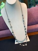 "Necklace Bright Silver Super Long Dangle Charm Heavy Chain necklace  36 ""Long"