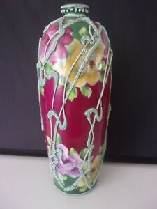 "ANTIQUE JAPANESE MORIAGE CABBAGE ROSE VASE HAND PAINTED 11"" RARE"