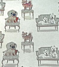 Tapestry of Dogs Fabric Great For Projects Mixed Breed Westie, Pug, Chihuahua+