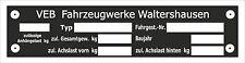 Typenschild  VEB Waltershausen Multicar