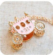 Necklace Pendant pumpkin Gold Plated Pink Enamel Princess Carriage top sale