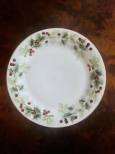 """Target Home HOLLY BERRY 10.75"""" Dinner Plate Holiday Christmas Gold Rim"""