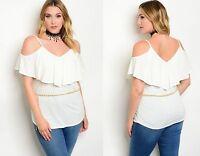Womens Cut Out Cold Shoulder Flounce Party Blouse Evening Top Plus Size 16-22
