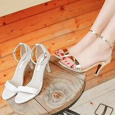 Women Summer Open Toe Shiny Gladiator Stiletto Middle Heels Ankle Strap Sandals