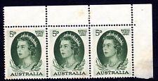 Australia Top corner Block of 3 QE2 5d Green Royal Visit 1962 Mint, hinged top