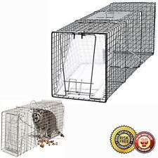 Humane Animal Trap 32x12x12 Steel Cage Live Rodent Control Skunk Rabbit Opossum@
