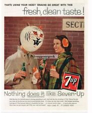 1959 Seven Up 7 Soda Tiger Face Balloon Vtg Print Ad