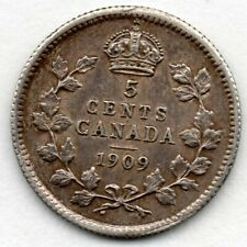 Canada 5 Cent 1909 (Nickel) (92.5% Silver) Coin