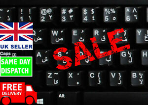 ARABIC English KEYBOARD STICKERS Transparent White Letters for Qwerty Keyboards