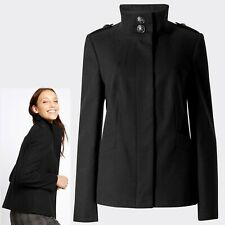 M&S Faux Wool TAILORED Funnel Neck JACKET ~ Size 16 ~ BLACK