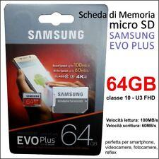 SCHEDA MEMORIA SAMSUNG MICRO SD 64 GB CLASSE 10 PER MINI VIDEOCAMERA TELECAMERA