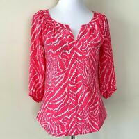 Lilly Pulitzer Womens Splash Pink Show Your Stripes Posey Blouse Top XS Blouse