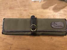 Boldric 7 pocket canvas and leather knife bag, Olive green, New