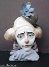 Vtg Lladro Pensive Porcelain Clown No. 5.130 Cabeza De Payaso W/ Original Box
