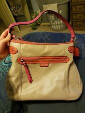 coach purse, taupe orange and pink leather
