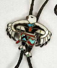 Vintage Zuni Navajo Silver Turquoise MOP Inlay Eagle Dancer Bolo Tie Necklace