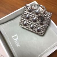 Christian Dior Authentic Bag Motif Charm Keychain Key Holder Silver Accessory
