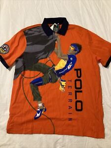 Polo Ralph Lauren Country Terrain Climber Orange Polo Shirt Men's Size Large New