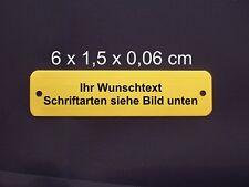 Namensschild, Messing poliert 6,0 x 1,5  x 0,06 cm mit Gravur und 2 Löchern