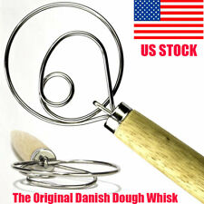 "13"" Stainless Steel Danish Dough Whisk Kitchen Baking Tools Cooking Utensils"