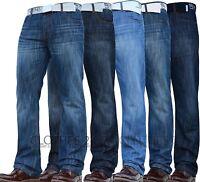 NEW MENS SMITH & JONES BOOTCUT FLARED & STRAIGHT LEG BLUE JEANS ALL WAIST SIZES