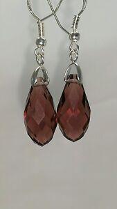 Beautiful Purple Wine Crystal Stamped 925 Sterling Silver Dangle Earrings