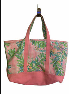 Lilly Pulitzer large Tote Bag Canvas Pink Leaves Tropical Beautiful Tote