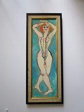 MID CENTURY NUDE W BEADS PORTRAIT PAINTING 1950 VINTAGE MODERNIST FEMALE VINTAGE